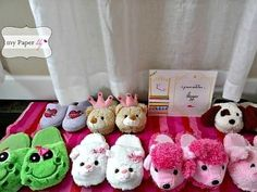 And if nothing else, dollar store fuzzy slippers for all! | 39 Slumber Party…