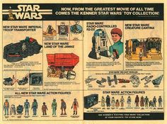 Great two page ad for Star Wars toys including the Jawa ship, troop transporter and radio controlled México Riviera Maya, Star Wars Cast, Star Trek, Kenner Toys, Star Wars Merchandise, One Wave, Stars Then And Now, Promotional Design, Retro Toys