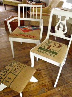 burlap coffee bag curtains   burlap coffee bag seats on up cycled antique chairs eclectic armchairs