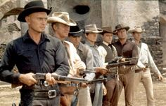 Hired guns: Yul Brynner, Steve McQueen, Horst Buchholz, Charles Bronson, Robert Vaughn, Brad Dexter and James Coburn in the 1960 film The Magnificent Seven.