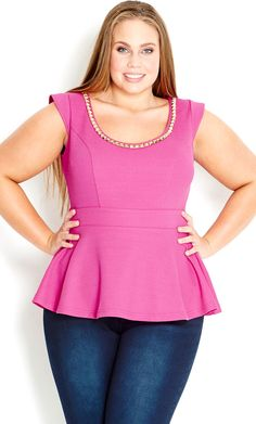 Look what I found on Passionfruit Chain-Neck Peplum Top - Plus by City Chic Plus Size Sewing, Curvy Plus Size, Plus Size Model, Plus Size Tops, Curvy Fashion, Plus Size Fashion, Plus Size Dresses, Plus Size Outfits, City Chic Online