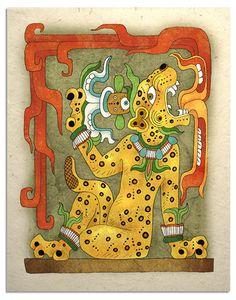 mayan jaguar god art print