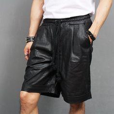 Street Fashion Summer Wax Coated Linen Short Sweatpants