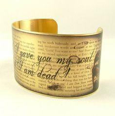 3. Romantic Literary Quote Brass Cuff
