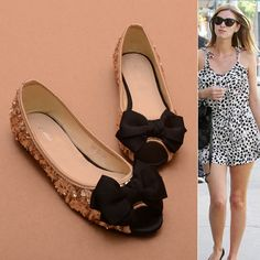 Sequins Whole Bow Flat Shoes