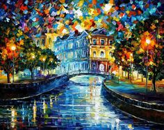 "St. Petersburg's Bridge — PALETTE KNIFE Oil Painting On Canvas By Leonid Afremov - Size: 40"" x 30"""
