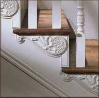 Decorative Victorian style under stair mouldings for a staircase  Victorian stair brackets (mouldings) embossed hardwood ornaments. Suitable for painting or staining, these ornments are available both in oak and white hardwood. http://www.oldhouseweb.com/product-showcase/ornamental-moulding-embossed-ornaments.shtml