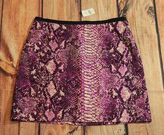 Ann Taylor Loft Skirt with Snakeskin Print Womens Size 8 Purple and Black NEW