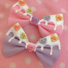 Sassy Conversation Hearts Bow by xCosmicKisses on Etsy, $5.00