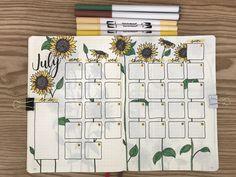 Bullet journal monthly spread, sunflower theme