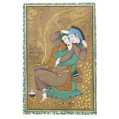 Riza-yi 'Abbasi (ca. 1565–1635), The Lovers, 1630 This evocative digital print was reproduced from an original work by artist Riza-yi 'Abbasi, which he created with opaque watercolor, ink, and gold on paper. 'Abbasi revolutionized Persian painting and drawing with his inventive use of calligraphic line and unusual palette. He painted The Lovers toward the end of a long, successful career at the Safavid court. The subject of a couple entwined reflects a newly relaxed attitude to sensuality…