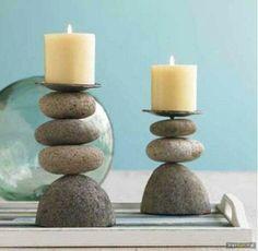 Porta velas con piedras …
