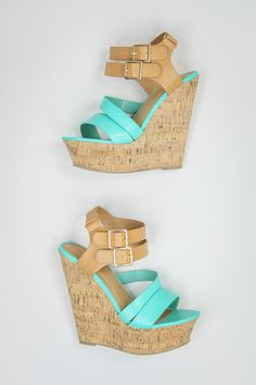 Faux Leather Wedges in Turquoise -- $34 #shoes
