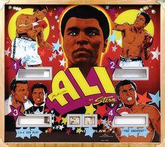 Muhammad Ali pinball machine backglass, by Stern Pinball, Inc.
