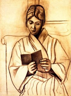 """Woman Reading (Olga)"" in 1920 by Pablo Picasso. Charcoal on paper.  Looks like this could be Obi Wan's mom."