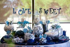 Candy Bar at wedding, colors were navy blue silver and white Navy Blue Wedding Theme, Blue White Weddings, Wedding Colors, Wedding Reception Decorations, Wedding Themes, Our Wedding, Wedding Ideas, Renewal Wedding, Reception Ideas