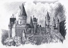 sketch of hogwart's castle | ilustração do castelo de hogwarts
