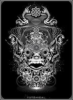 About this T-Shirt The call of Barong: Barong is a character in the mythology of Bali. Barong Bali, Balinese Tattoo, Samurai Mask Tattoo, Cool Tattoos, New Tattoos, Khmer Tattoo, Oriental, Cartoon Drawings, Asian Art