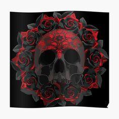 Skull Tattoos, Rose Tattoos, Dark Fantasy Art, Dark Art, Eyes Wallpaper, Sugar Skull Wallpaper, Totenkopf Tattoos, Skull Pictures, Skull Artwork