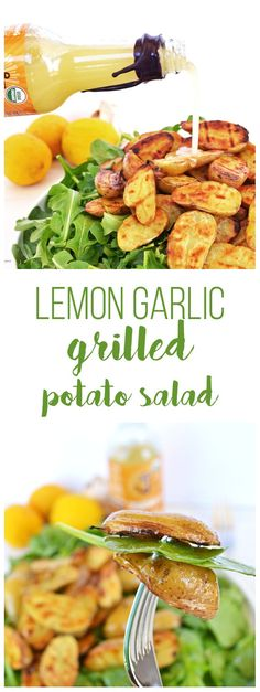 Tessamae's Lemon Garlic Vinaigrette uses all clean and Whole30 approved ingredients and goes perfectly on this Grilled Potato Salad! It is a perfect light side dish for any spring or summer barbecue!