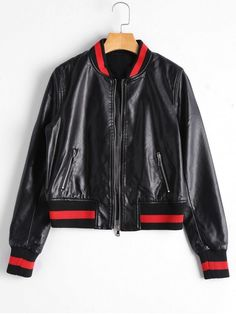 61383d1cc8 Shop for Zip Up Faux Leather Bomber Jacket BLACK  Jackets   Coats S at ZAFUL