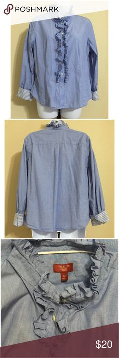 "Talbots Petites Blouse Size 16P Talbots Petites • Ruffled Center • Ruffled High Collar • Blue • Fold Cuffs That Are Blue, Gray & White Striped • 100% Cotton • Machine Wash • Size 16P • 21"" pit to pit • 24"" Length • 16"" shoulder width • 23"" Sleeve length from seam to cuff Talbots Tops Button Down Shirts"