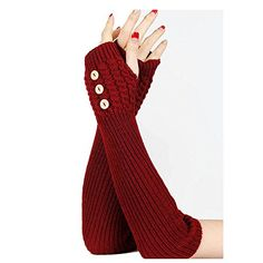 Burgundy Knitted Button Hand Wrist Arm Warmer Beatnix Fas...