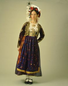 """Gilet, mais aussi coiffure !   Front and back of the bridal and festive dress of Corfu which is mainly worn in the area of Lefkimmi and Gastouri. The costume is characterized by the """"diadema"""" or """"stolos"""" headdress.  Size   Date Early 20th c.  - vue de dos : http://www.texmedindigitalibrary.eu/img_db/nt9pyo5v_2.jpg"""