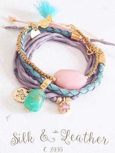 Silk bracelets gemstones bohochic