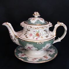 John Ridgway Porcelain Teapot  Stand, Antique English c1830 from Owen's Antiques Exclusively on Ruby Lane