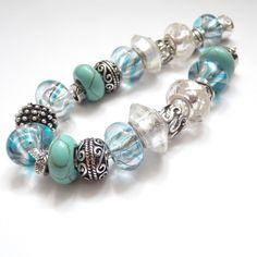 Náramek - Andělské světlo - Angels Light made of lampwork glass beads and tibetan silver spacer and  Tyrkenite gemstone beads.