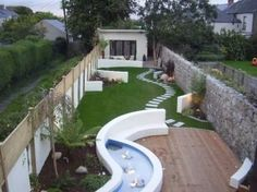 Patio Garden Design on Long Narrow Garden Project Photos From Landscaper Redlough Patio-Garten-Desig Backyard Garden Design, Small Garden Design, Small Space Gardening, Small Gardens, Patio Design, Courtyard Design, Backyard Ideas, Narrow Patio Ideas, Narrow Garden