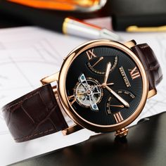 Reef Tiger/RT Casual Watches Tourbillon Automatic Watches with Date Day Rose Gold Fashion Designer Watch for Men RGA191
