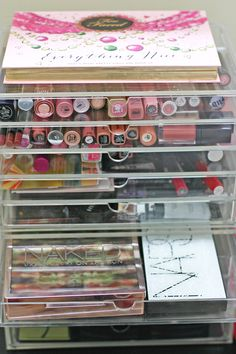 Kardashian inspired make-up storage.  Clear acrylic drawers.