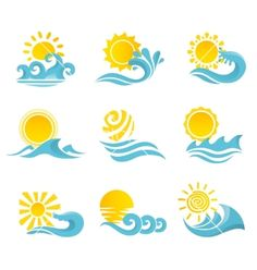 Waves sun icons set vector 2358547 - by macrovector on VectorStock®