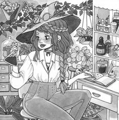 Well hello there, this one took me..a while, got carried away with all these plants  Curious witch at her workspace for day 18 #witchtober #inktober #inktober2016