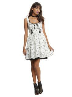 Ivory & Black Bug Print Fit & Flare Dress,