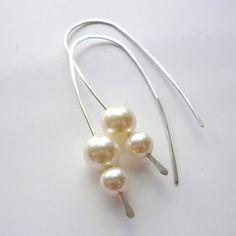 Sterling Silver Pearl Hoop Earrings, Swarovski Crystal Pearl Earrings