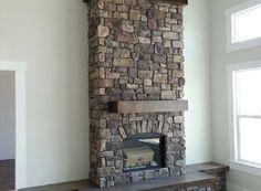 Fireplace: Villa Stone (Color: Apache) manufactured stone veneer by Kodiak Mountain Stone Fireplace Mantels, Fireplaces, Mantles, Fireplace Ideas, Manufactured Stone Veneer, Barn Loft, Fireplace Pictures, Stone Gallery, Chimney Breast