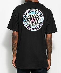Santa Cruz Manufactured Dot Tie Dye Black T-Shirt Santa Cruz Logo, Jordan Shoes Girls, Print Logo, Graphic Tees, Tie Dye, Shirts, Mens Fashion, Mens Tops, How To Wear