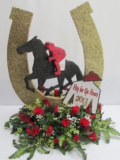 Horse shoes, Blue mason jars and Sports Centerpieces, Birthday Centerpieces, Floral Centerpieces, Race Party, Derby Party, Derby Dinner, Horse Racing Party, Horse Party, Run For The Roses