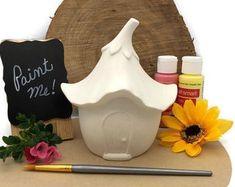 Ladybug Mushroom Fairy House Ceramic Bisque Ready to Paint | Etsy Pottery Painting, Ceramic Painting, Diy Painting, Ready To Paint Ceramics, Fairy Lanterns, Acorn Necklace, Winter Fairy, Mushroom House, Fairy Tree