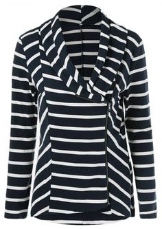Keep it chic with free shipping&easy return! This striped top is detailed with front zipper closure&lapel design! Have it at Cupshe.com