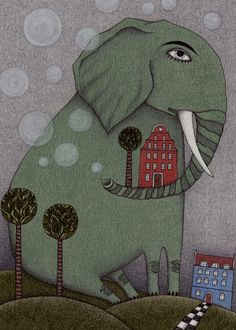 """It's an Elephant!"" by Judith Clay on Artflakes.com"