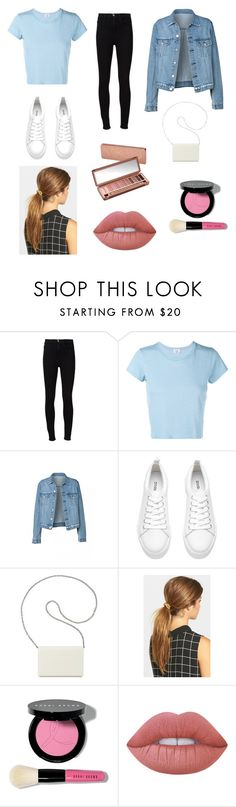 """Monica Geller from friends outfit"" by summergarcia772 ❤ liked on Polyvore featuring Frame Denim, RE/DONE, H&M, Nine West, Ficcare, Urban Decay, Bobbi Brown Cosmetics and Lime Crime"
