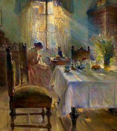"""1891, """"Woman sewing in an interior"""" - Bertha Wegmann (1846–1926)"""