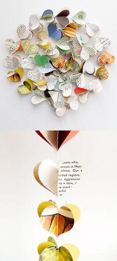 //\\ DIY idea :: Vintage Paper Heart Garland ( construction paper, vintage field guide pages, vintage cookbook pages, sheet music, maps... )