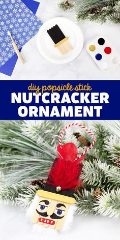 DIY Popsicle Stick Nutcracker Ornament - Learn how to make these unique nutcracker ornaments for Christmas! You just need popsicle sticks and paint. It's such a fun, easy project for kids of all ages! Nutcracker Crafts, Nutcracker Ornaments, Kids Christmas Ornaments, Christmas Ideas, Holiday Ideas, Christmas Decorations, Arts And Crafts For Kids Toddlers, Holiday Crafts For Kids, Kids Crafts