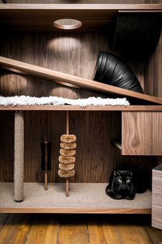 The Cat Flat Gives Cats a Home with 10 Things to Make Them Happy - Design Milk Self Storage Company, Cat Flats, Cat Hotel, Armoire, Contemporary Cabinets, Cat Towers, Cat Playground, Happy Design, Pet Furniture
