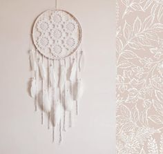 White dreamcatcher wall hanging crochet doily large